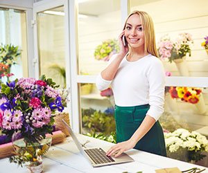 Woman working at flower shop