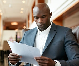 Tax Preparer looking at documents